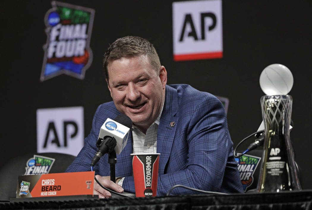Texas Tech basketball coach Chris Beard speaks during a news conference after being named The A ...