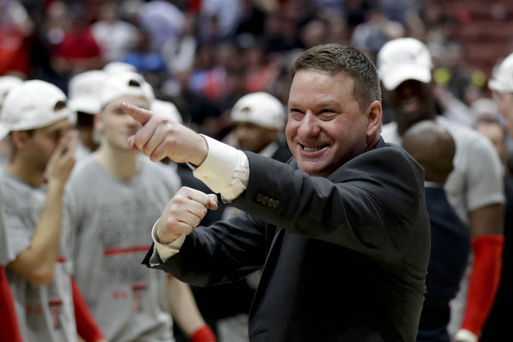 Texas Tech head coach Chris Beard celebrates after the team's win against Gonzaga during the We ...