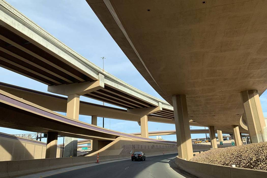 Various Spaghetti Bowl freeway ramps will see closures over much of this week. (Mick Akers/Las ...