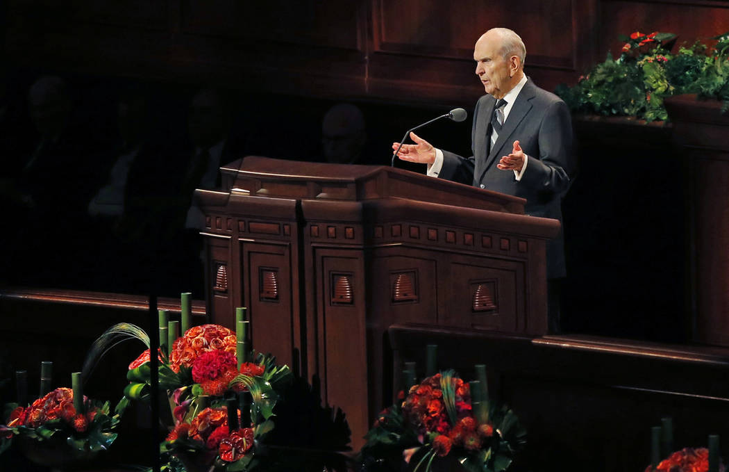 The Church of Jesus Christ of Latter-day Saints President Russell M. Nelson speaks during the t ...