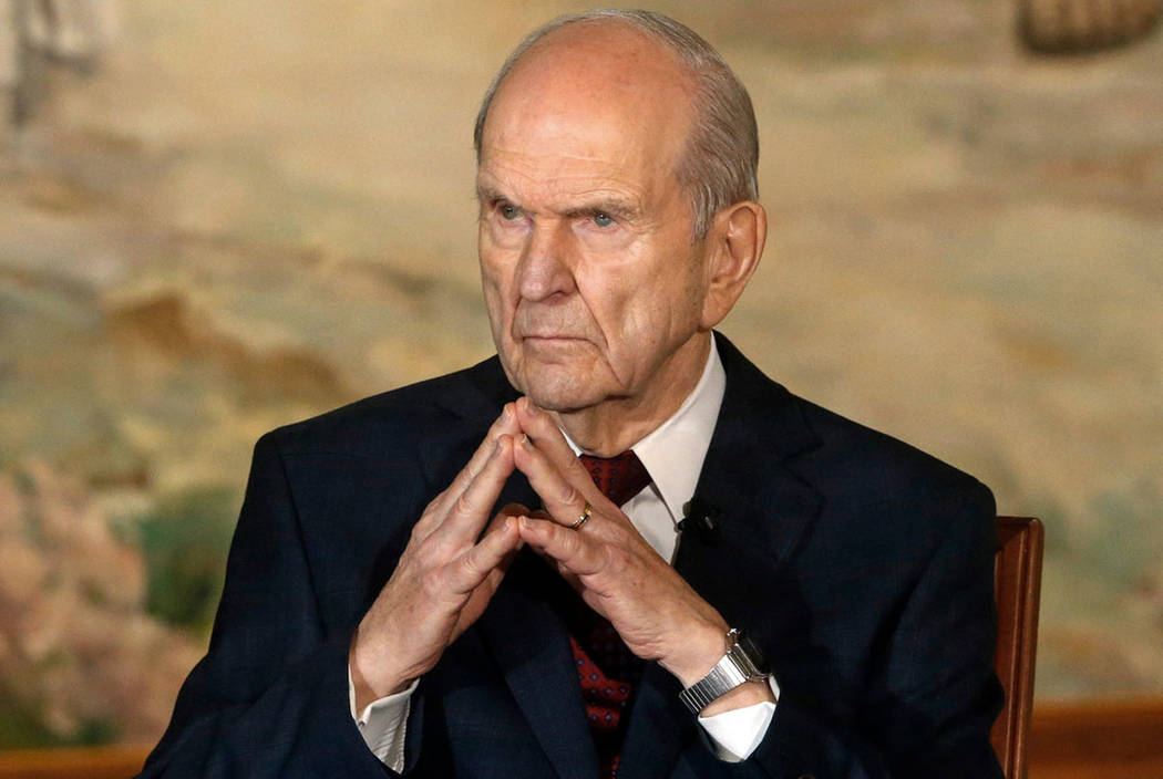 President Russell M. Nelson looks on following a news conference in Salt Lake City in January 2 ...