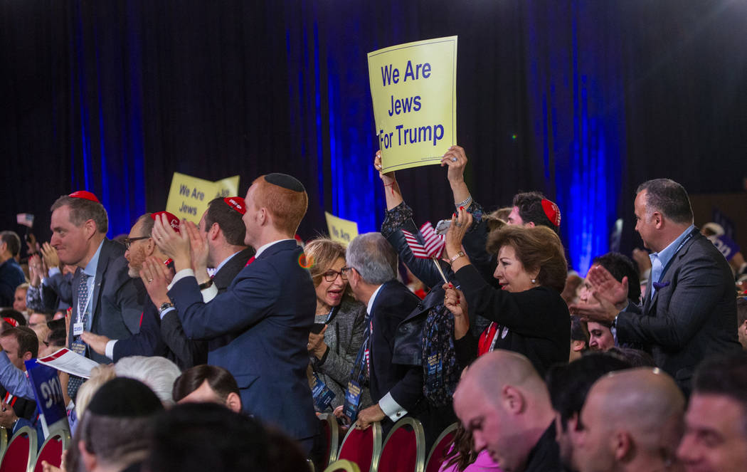 Attendees cheer for a speech as they await President Donald J. Trump to address the Republican ...