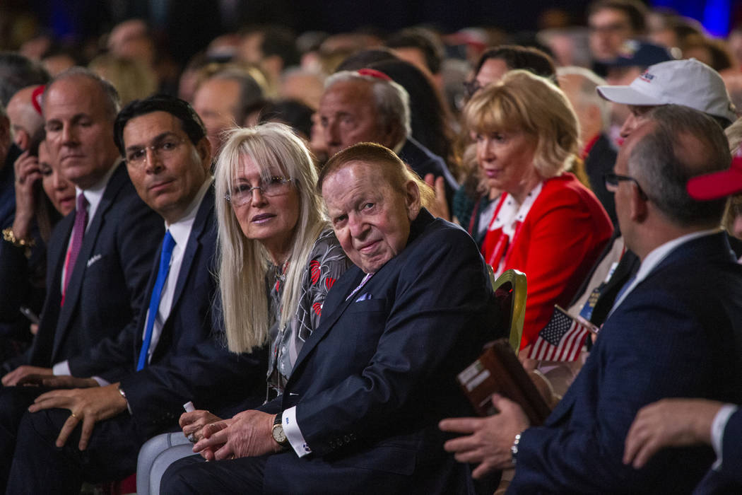 Miriam and Sheldon Adelson arrive to watch as President Donald J. Trump addresses the Republica ...