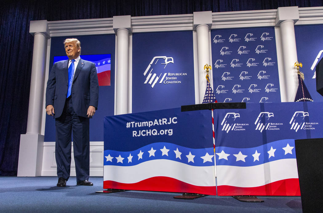 President Donald J. Trump prepares to address the Republican Jewish Coalition during the RJC's ...