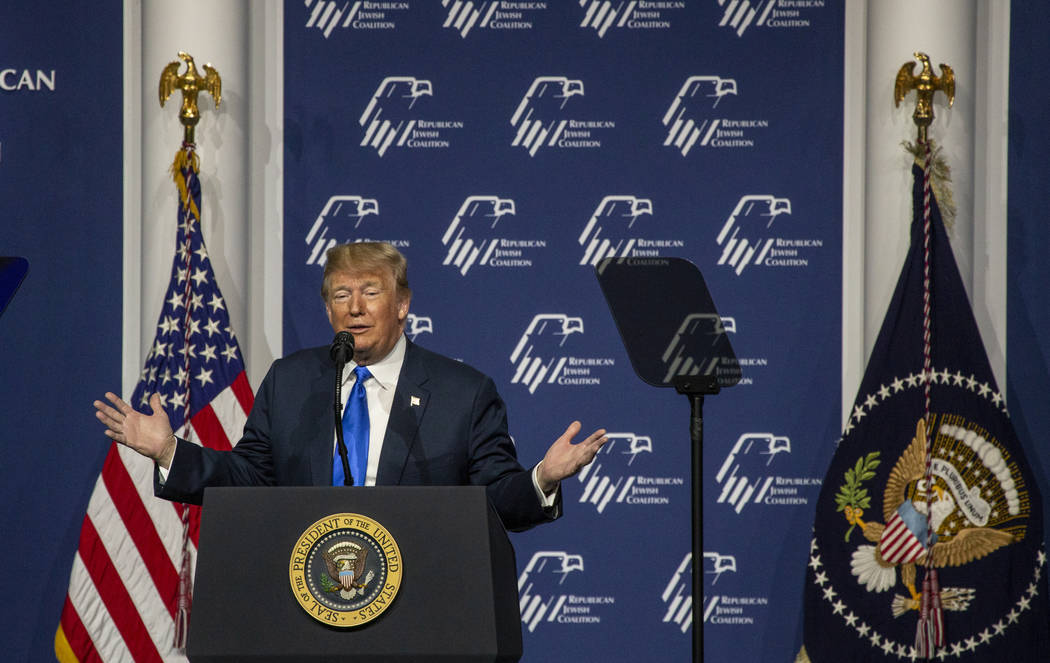 President Donald J. Trump addresses the Republican Jewish Coalition during the RJC's Annual Lea ...