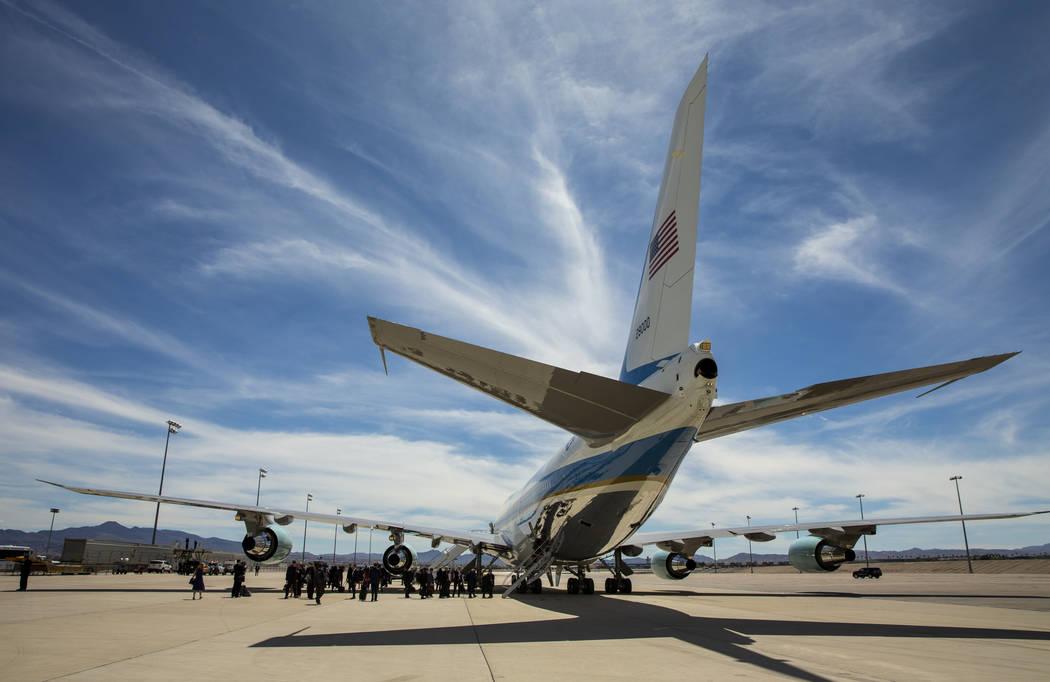 Staffers load as President Donald J. Trump readies to depart from McCarran International Airpor ...