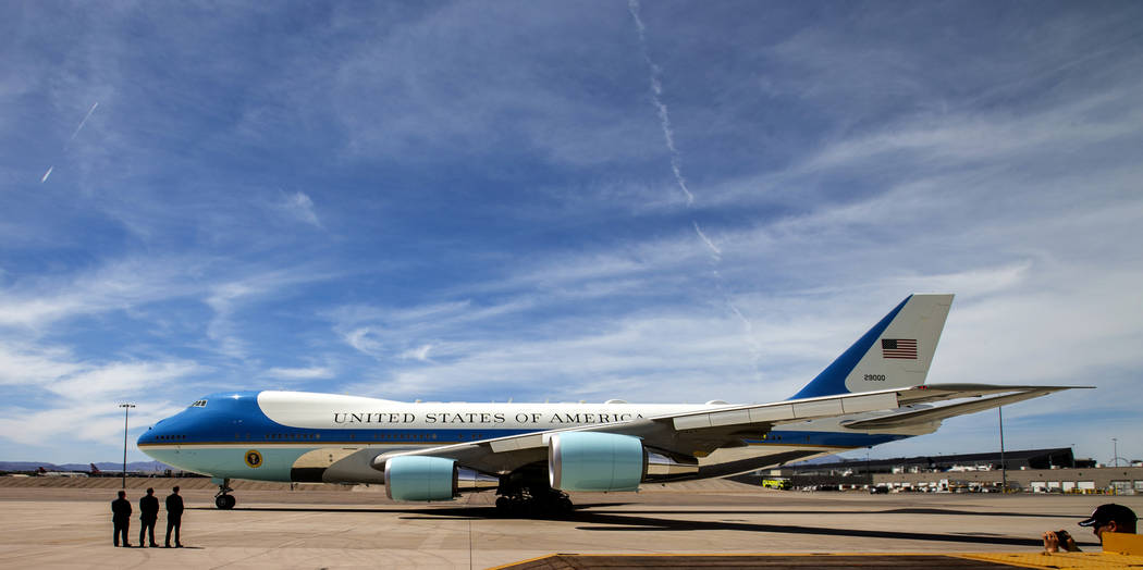 President Donald J. Trump departs from McCarran International Airport on Air Force One after ad ...