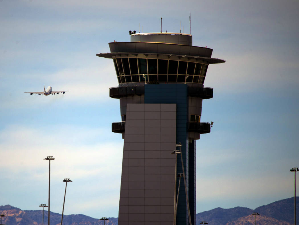 President Donald J. Trump flies away from McCarran International Airport on Air Force One after ...