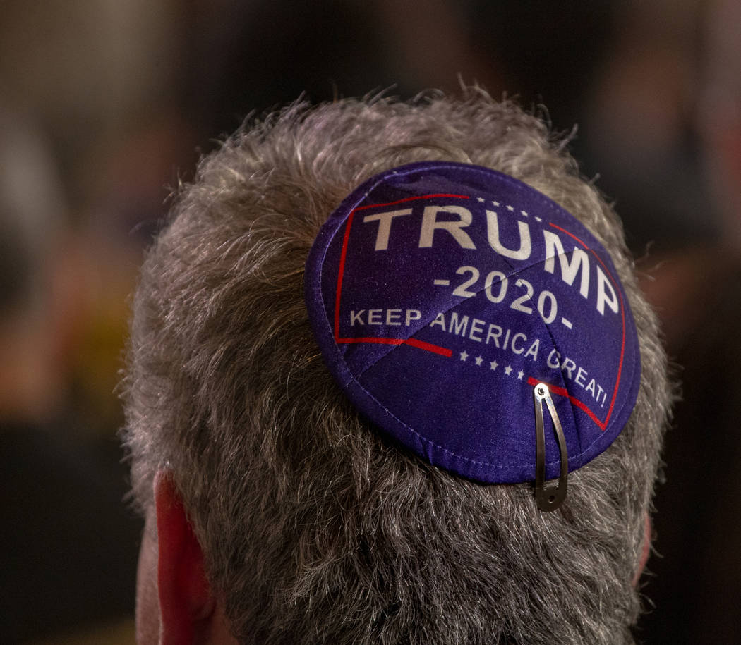 An attendee wears Trump yamaka as President Donald J. Trump addresses the Republican Jewish Coa ...