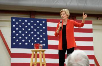 Democratic presidential candidate Sen. Elizabeth Warren, D-Mass., speaks during a campaign rall ...