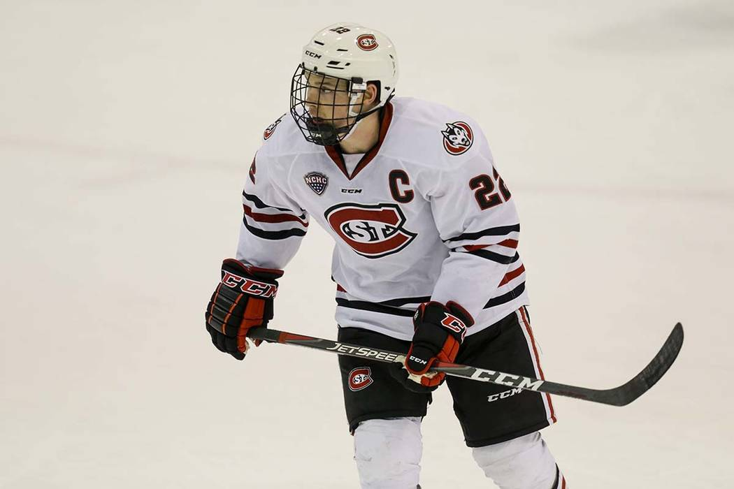 St. Cloud State's Jimmy Schuldt against Colorado College during an NCAA hockey game on Friday, ...
