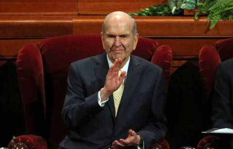 Church President Russell M. Nelson waves during The Church of Jesus Christ of Latter-day Saints ...