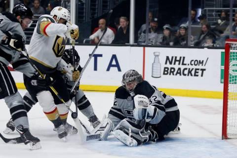 Los Angeles Kings goalie Jonathan Quick (32) stops a shot by Vegas Golden Knights forward Pierr ...