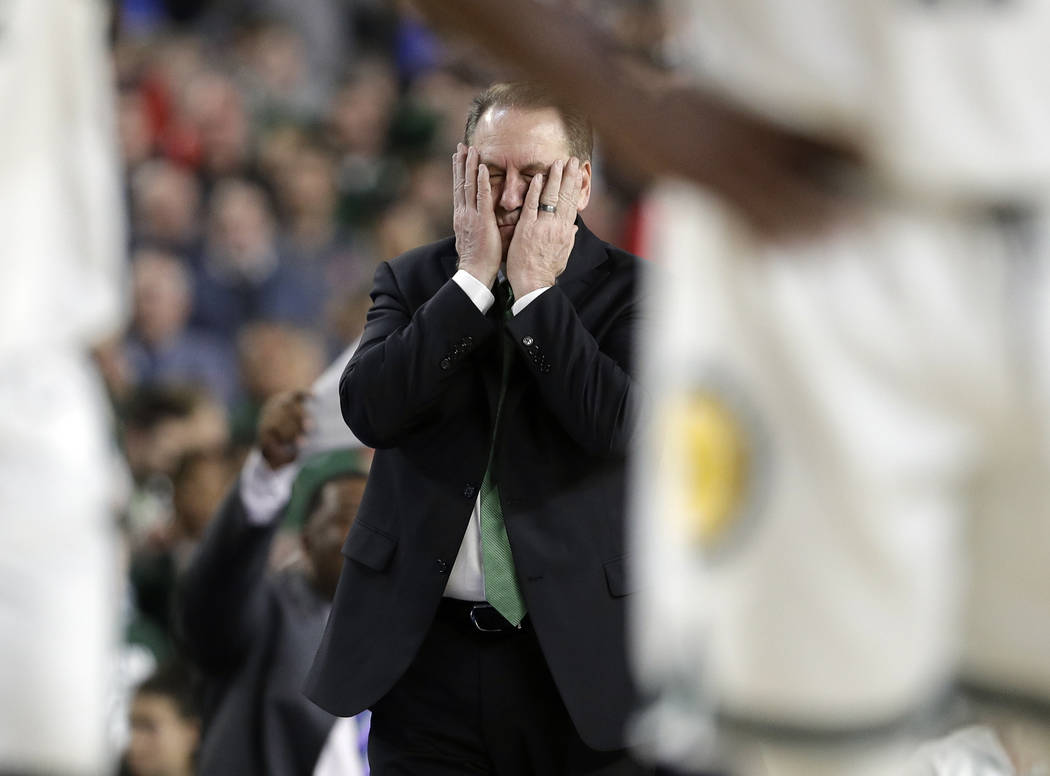 Michigan State head coach Tom Izzo reacts during the second half in the semifinals of the Final ...