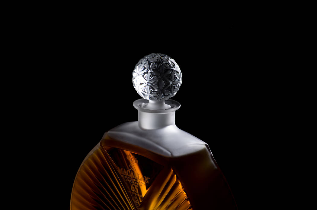 Scotch 80 Prime's Macallan 65-year-old Scotch comes in a Lalique crystal bottle. (Scotch 80 Prime)