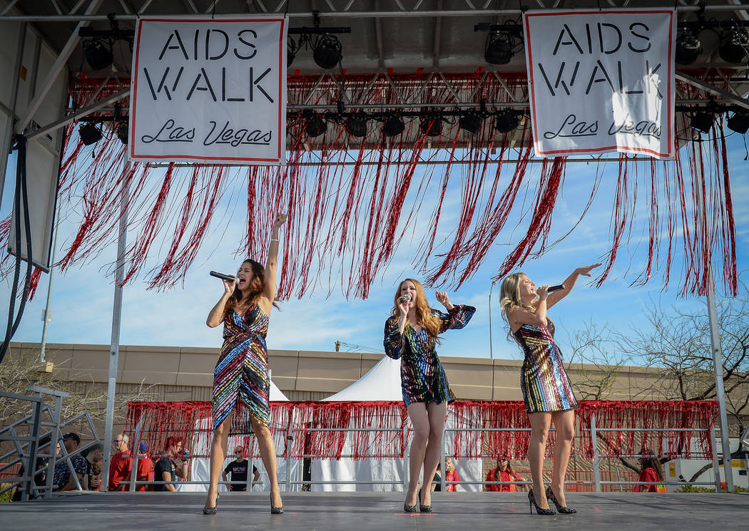 Musical group Lady Luck performs on stage at the 29th Annual AIDS Walk Las Vegas at Town Square ...