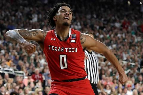Texas Tech guard Kyler Edwards celebrates during the second half against Michigan State in the ...