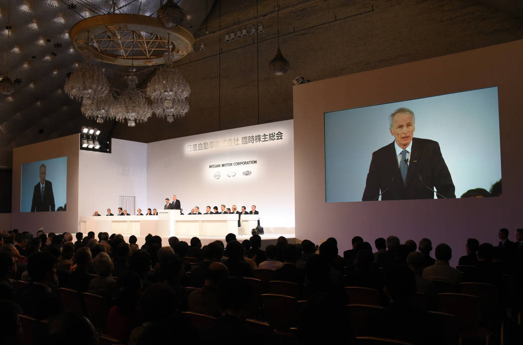 In this photo released by Nissan Motor Co., Renault Chairman Jean-Dominique Senard is seen on s ...