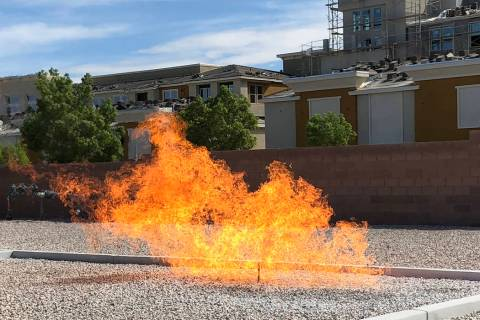 A gas leak is ignited at Southwest Gas' emergency response training facility in Henderson on Ap ...