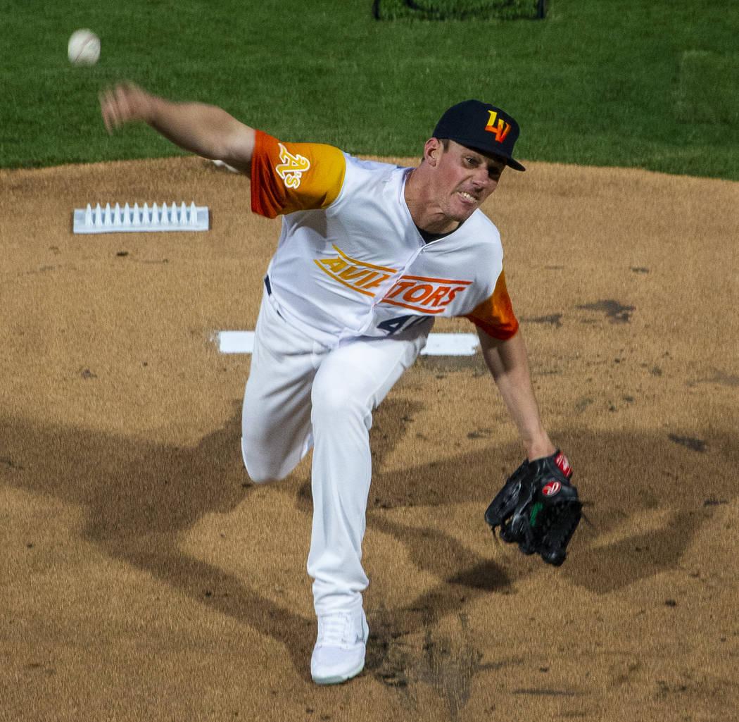 Las Vegas Aviators pitcher Chris Bassitt (40) throws the first pitch during the Las Vegas Aviat ...