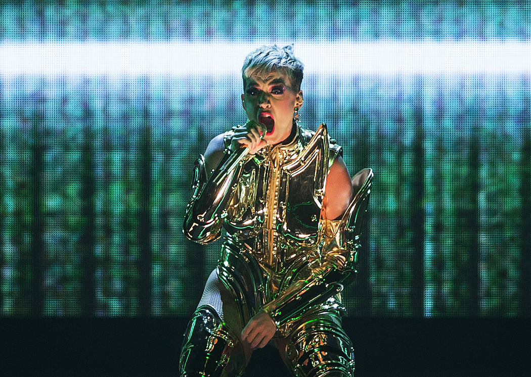 Katy Perry performs during her Witness Tour at T-Mobile Arena in Las Vegas, Jan. 20, 2018. (Ben ...