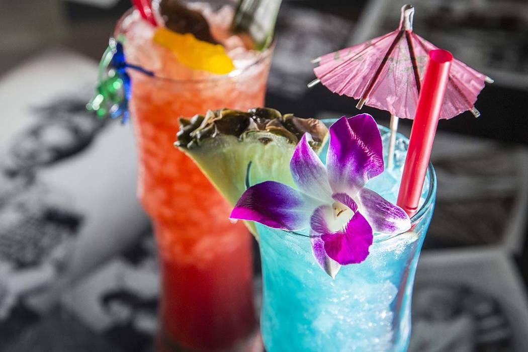 Cocktails at Golden Tiki in Las Vegas. (Benjamin Hager/Las Vegas Review-Journal) @benjaminhphoto