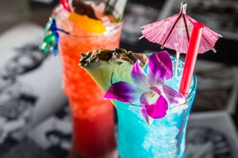 Cocktails at Golden Tiki in Las Vegas. (Benjamin Hager/Las Vegas Review-Journal) @benjaminhphoto