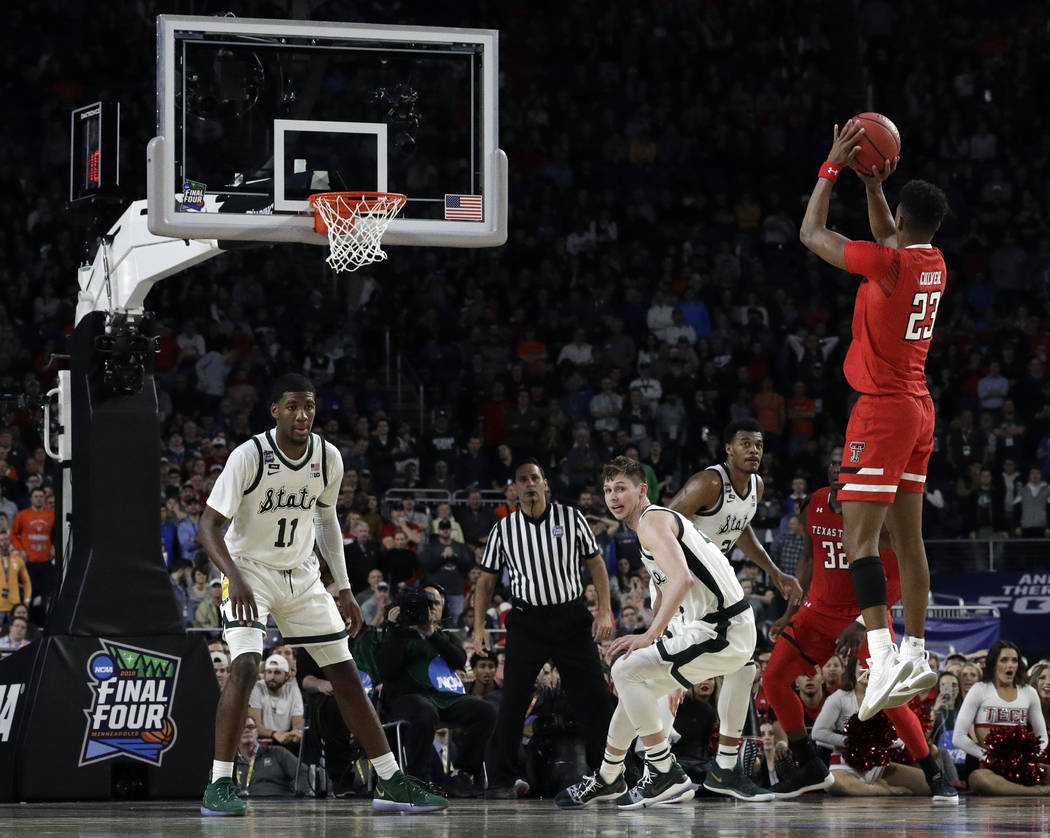 Texas Tech's Jarrett Culver (23) takes a shot during the second half in the semifinals of the F ...