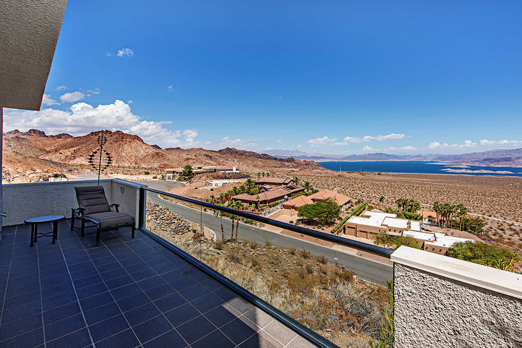 The mountaintop home has views of Lake Mead. (Luxury Estates International)
