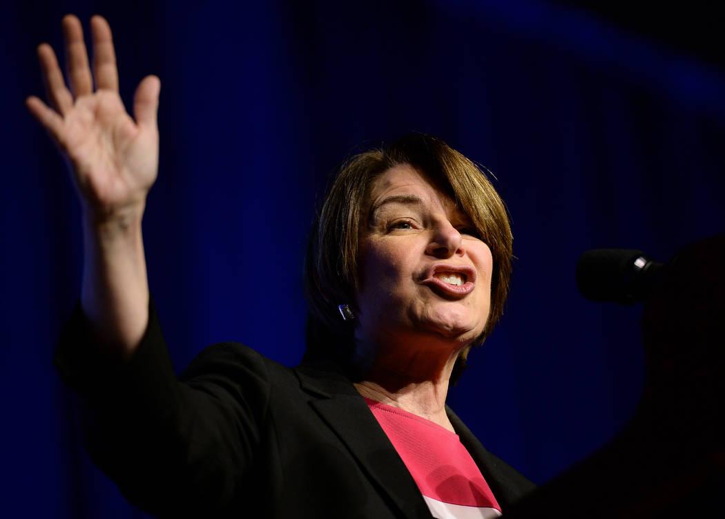 Democratic presidential candidate Sen. Amy Klobuchar, D-Minn., speaks at the International Asso ...
