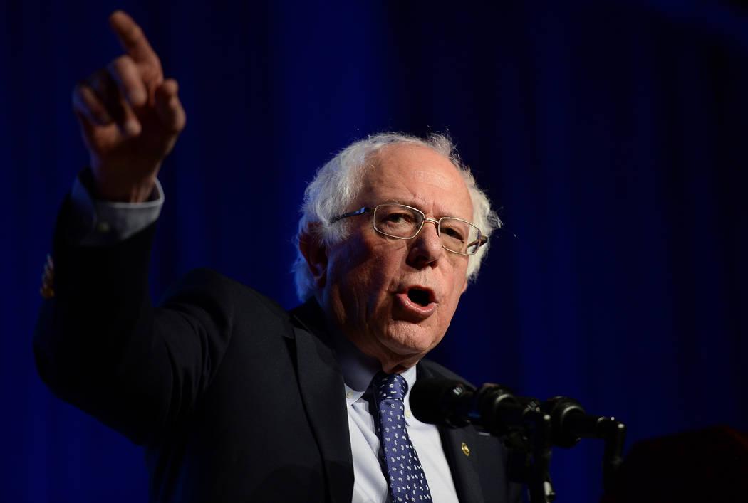 Democratic presidential candidate Sen. Bernie Sanders, I-Vt., speaks at the International Assoc ...