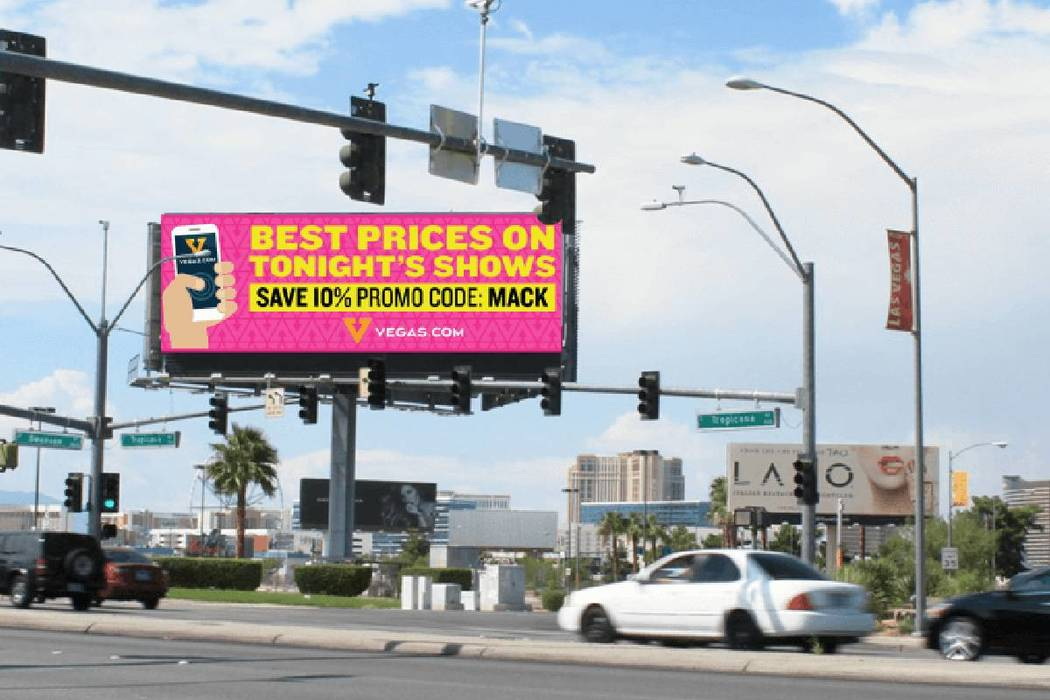 An Adomni digital billboard is shown on Tropicana Avenue in Las Vegas. (courtesy)