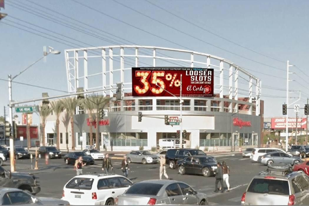 An Adomni digital billboard is shown near Las Vegas Boulevard. (courtesy)