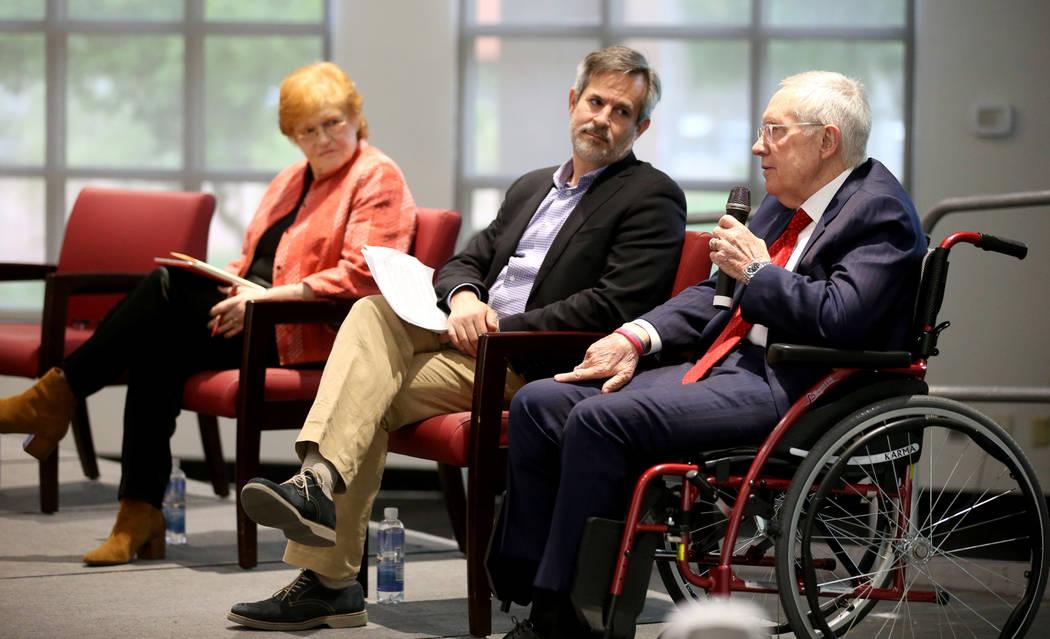 Former Sen. Harry Reid, speaks with author and historian Deborah Lipstadt and journalist Jonath ...