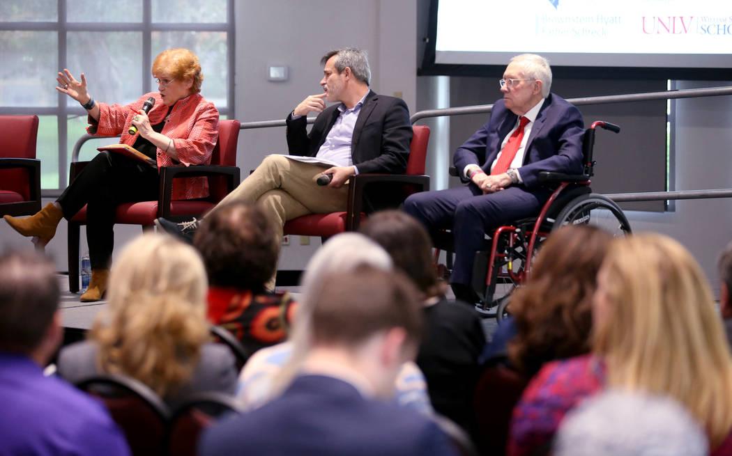 Author and historian Deborah Lipstadt speaks with journalist Jonathan Weisman, center, and form ...