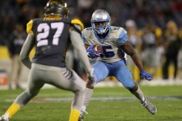 Salt Lake Stallions wide receiver De'Mornay Pierson-El (15) jukes past San Diego Fleet Safety D ...