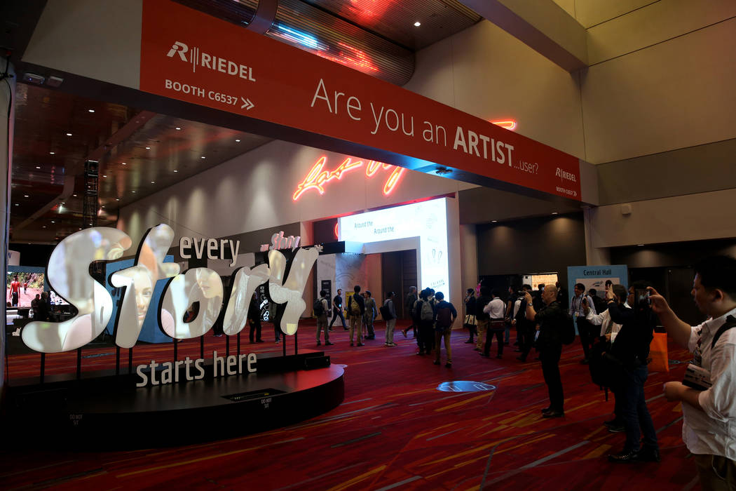 Conventioneers arrive on the opening day of the National Association of Broadcasters Show at th ...
