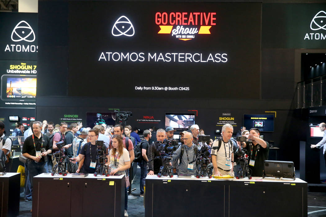 Conventioneers can check out camera monitors at the Atomos booth on the opening day of the Nati ...
