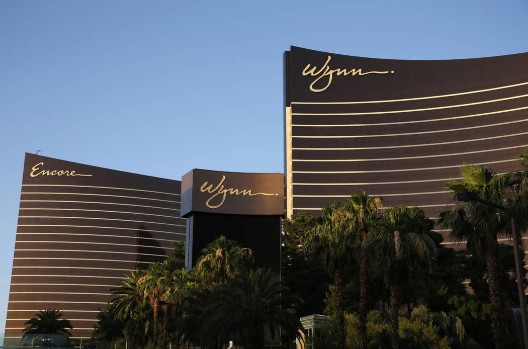 This June 17, 2014, file photo shows the Wynn Las Vegas and Encore resorts in Las Vegas. (John ...