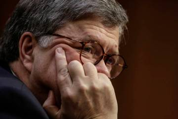William Barr takes questions at his confirmation hearing Jan. 15, 2019, to become President Tru ...