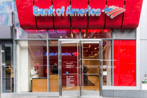 A Bank of America branch office as seen on May 5, 2017, in New York City. (Getty Images)