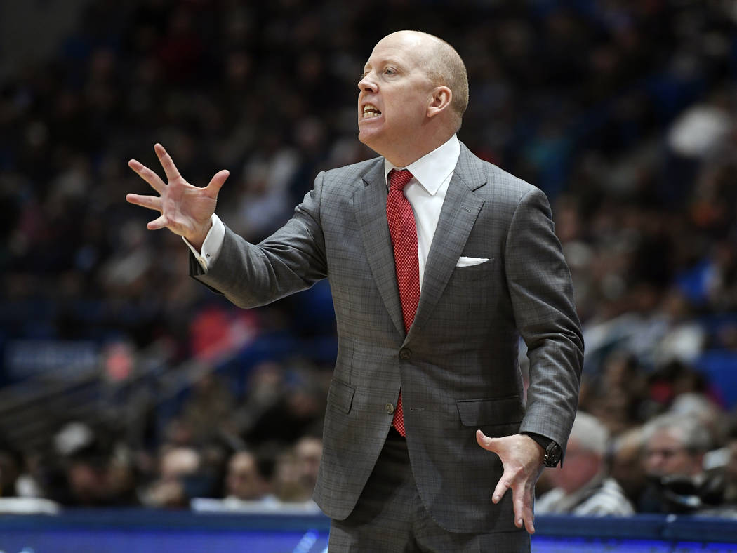 In this Feb. 24, 2019, file photo, Cincinnati head coach Mick Cronin reacts during the second h ...
