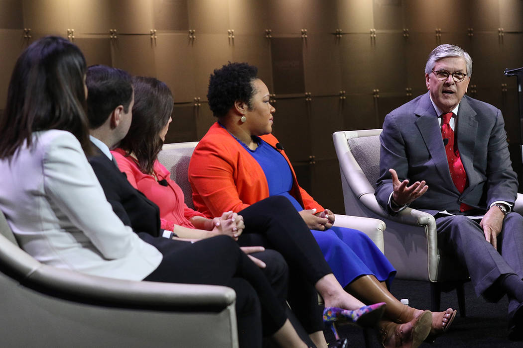 Gordon H. Smith, right, president and CEO at National Association of Broadcasters, moderates a ...