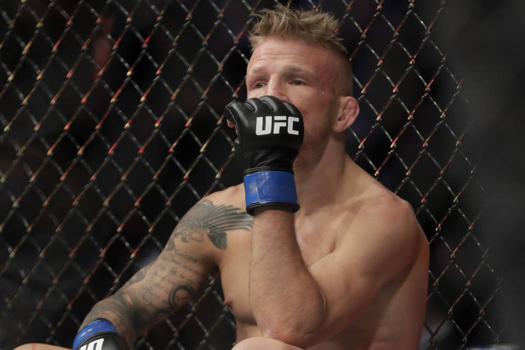 FILE - In this Jan. 20, 2019 file photo, TJ Dillashaw reacts after a flyweight mixed martial ar ...