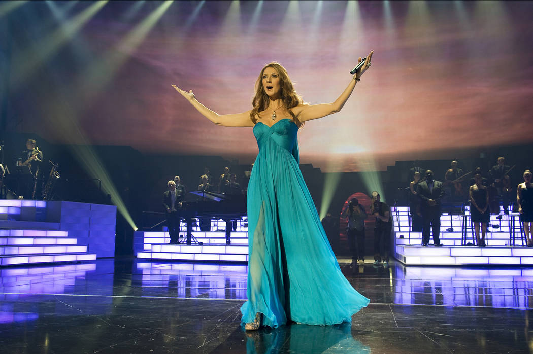 "Celine Dion performs ""My Heart Will Go On"" at The Colosseum at Caesars Palace in March 2011 in ..."