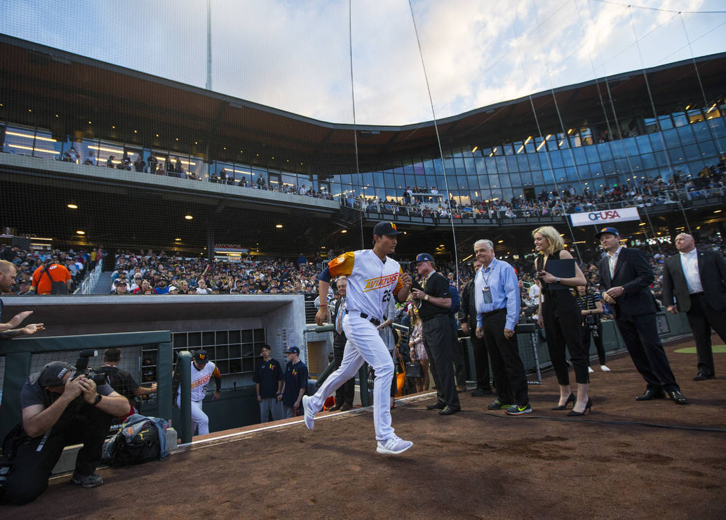 Las Vegas Aviators pitcher Wei-Chung Wang (25) is introduced before the start of the Las Vegas ...