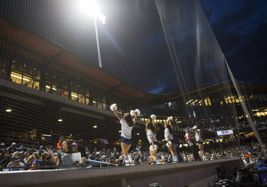 Cheerleaders perform as the Las Vegas Aviators play the Sacramento River Cats during the first ...