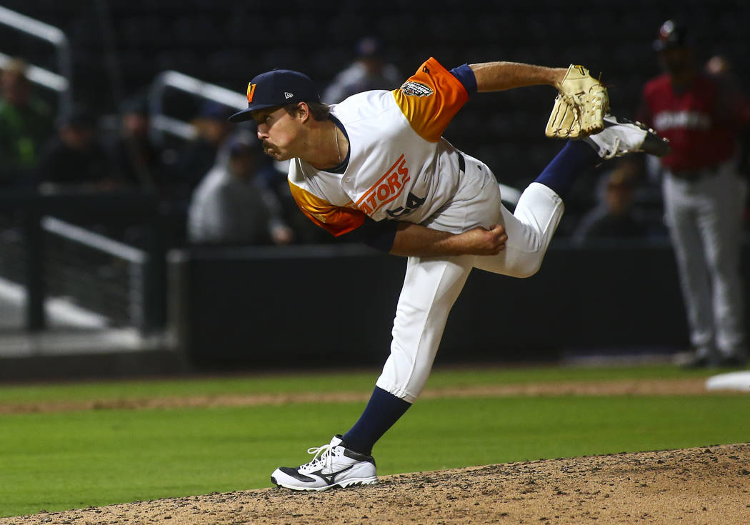 Las Vegas Aviators pitcher Daniel Mengden (54) throws to Sacramento during the sixth inning of ...