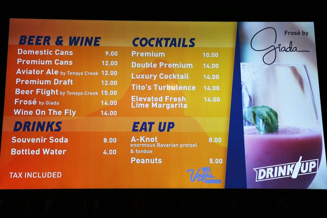 Food and drink prices are shown on opening night for the Las Vegas Aviators at Las Vegas Ballpa ...