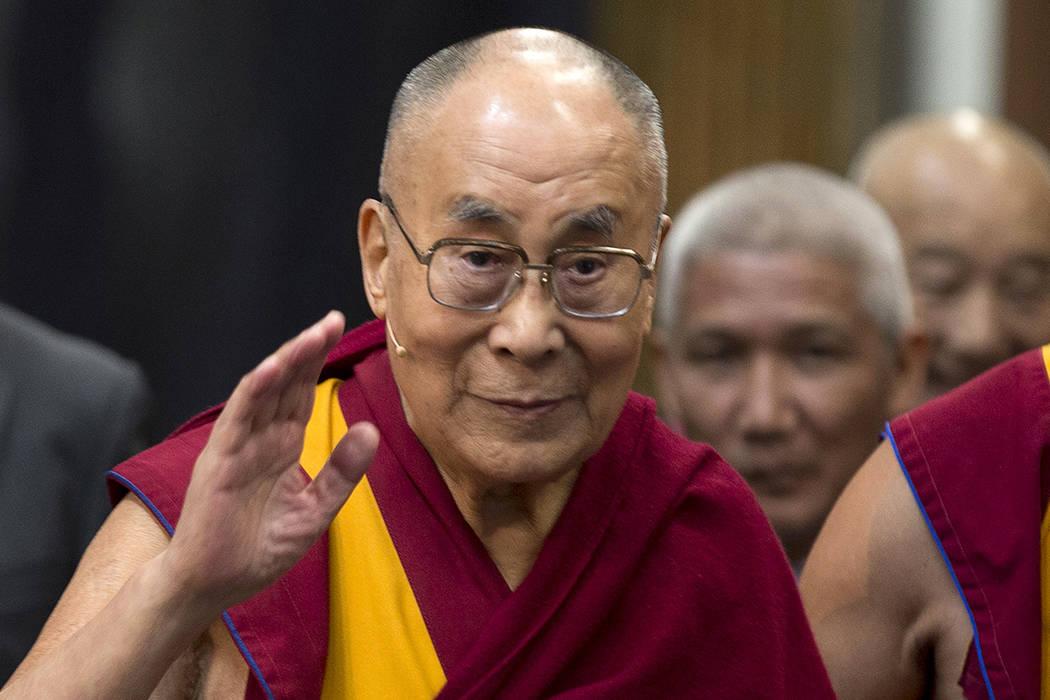 FILE - In this Sept. 15, 2018, file photo, Tibetan spiritual leader the Dalai Lama greets journ ...